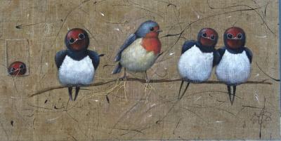 Hirondelles rouge gorge ok peinture toile de jute ile de re sylvie leau