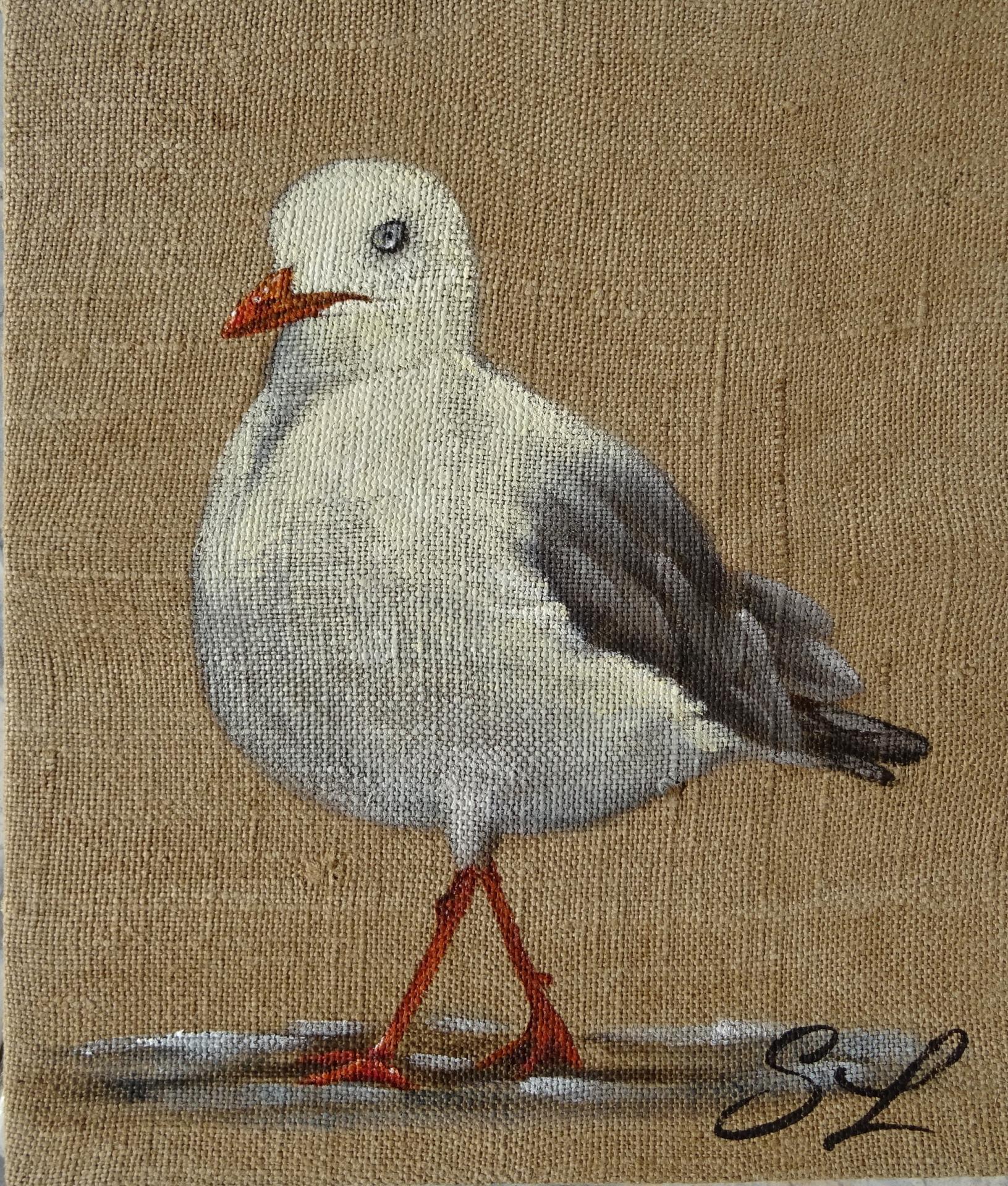 Mouette sylvie leau artiste peintre ile de re peinture sur toile de jute